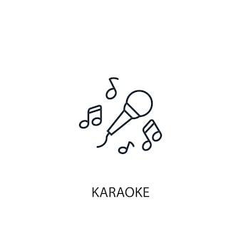 Ícone de linha do conceito de karaokê. ilustração de elemento simples. projeto do símbolo do esboço do conceito do karaokê. pode ser usado para ui / ux da web e móvel