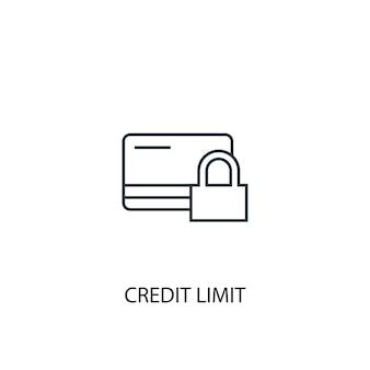 Ícone de linha do conceito de limite de crédito. ilustração de elemento simples. design de símbolo de estrutura de tópicos de conceito de limite de crédito. pode ser usado para ui / ux da web e móvel