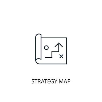Ícone de linha do conceito de mapa de estratégia. ilustração de elemento simples. estratégia mapa conceito esboço símbolo design. pode ser usado para ui / ux da web e móvel