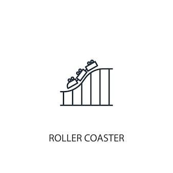 Ícone de linha do conceito de montanha-russa. ilustração de elemento simples. design de símbolo de contorno de conceito de montanha-russa. pode ser usado para ui / ux da web e móvel