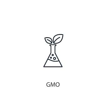 Ícone de linha do conceito de ogm. ilustração de elemento simples. projeto de símbolo de contorno de conceito de ogm. pode ser usado para ui / ux da web e móvel
