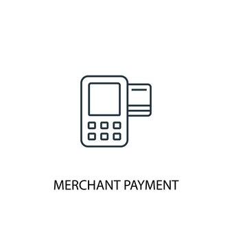 Ícone de linha do conceito de pagamento de comerciante. ilustração de elemento simples. projeto de símbolo de estrutura de tópicos de conceito de pagamento comerciante. pode ser usado para ui / ux da web e móvel