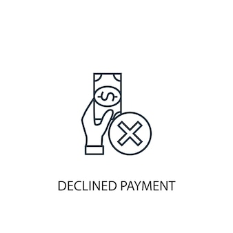 Ícone de linha do conceito de pagamento recusado. ilustração de elemento simples. projeto de símbolo de contorno de conceito de pagamento recusado. pode ser usado para ui / ux da web e móvel