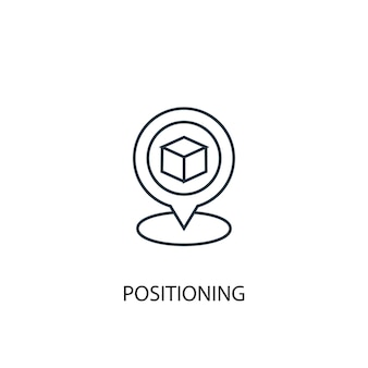 Ícone de linha do conceito de posicionamento. ilustração de elemento simples. posicionando o design do símbolo do esboço do conceito. pode ser usado para ui / ux da web e móvel