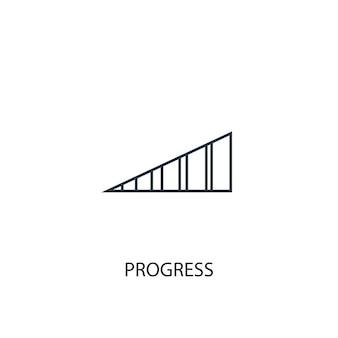 Ícone de linha do conceito de progresso. ilustração de elemento simples. progresso conceito esboço símbolo design. pode ser usado para ui / ux da web e móvel