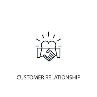 Ícone de linha do conceito de relacionamento com o cliente. ilustração de elemento simples. projeto do símbolo do esboço do conceito de relacionamento com o cliente. pode ser usado para ui / ux da web e móvel