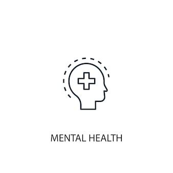 Ícone de linha do conceito de saúde mental. ilustração de elemento simples. projeto de símbolo de estrutura de tópicos de conceito de saúde mental. pode ser usado para ui / ux da web e móvel