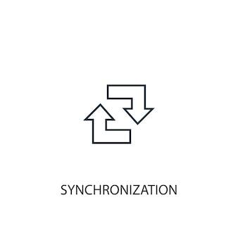 Ícone de linha do conceito de sincronização. ilustração de elemento simples. sincronização conceito esboço símbolo design. pode ser usado para ui / ux da web e móvel