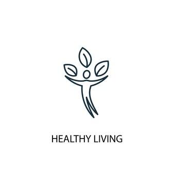 Ícone de linha do conceito de vida saudável. ilustração de elemento simples. design de símbolo de contorno de conceito de vida saudável. pode ser usado para ui / ux da web e móvel