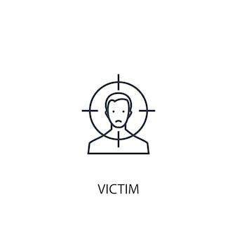 Ícone de linha do conceito de vítima. ilustração de elemento simples. vítima conceito esboço símbolo design. pode ser usado para ui / ux da web e móvel