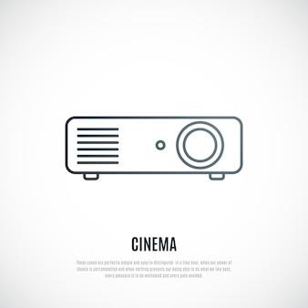 Ícone de linha do projetor de vídeo isolado no fundo branco
