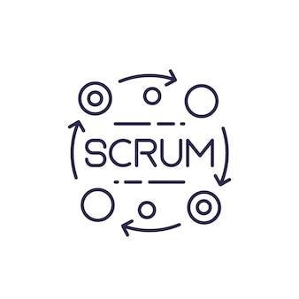 Ícone de linha do vetor de processo scrum