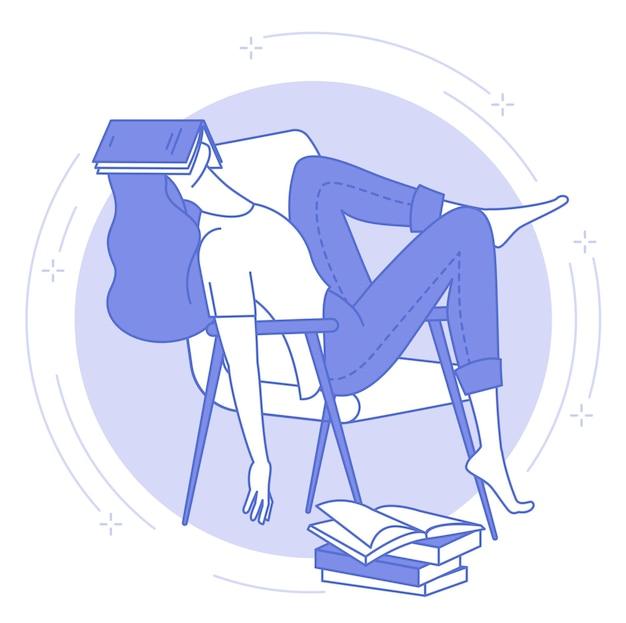 Ícone de linha fina azul de jovem dormindo com um livro aberto, estudante ou trabalho noturno, cansaço.