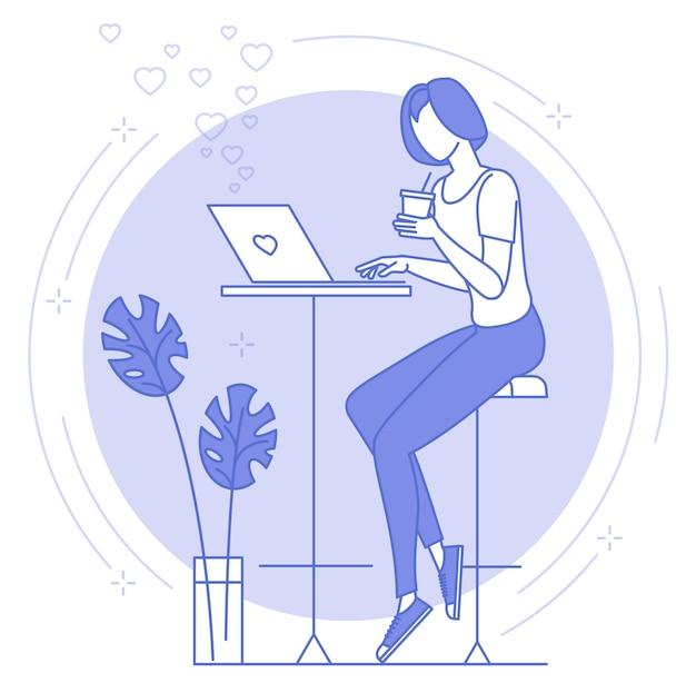 Ícone de linha fina azul de trabalho remoto e freelance.