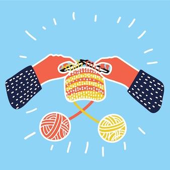 Ícone de linha fina de tricô. emaranhados e agulhas de tricô. símbolo isolado colorido. modelo de logotipo, elemento para cartão de visita ou anúncio de oficina. design moderno linear mono simples.