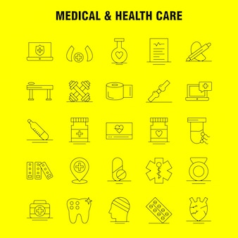 Ícone de linha médica e de saúde: médica, medicina, tablet, hospital, medida, médicos, dispositivos médicos, pack de pictograma
