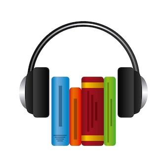 Ícone de livro e fone de ouvido. design de audiolivros. gráfico de vetor