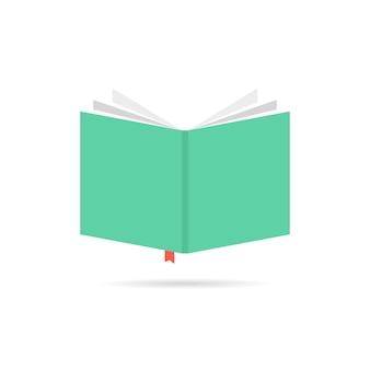 Ícone de livro verde com marcador. conceito de livreto, estante, ebook, leitor, livro de aula, e-book, álbum de recortes. isolado no fundo branco. ilustração em vetor design de logotipo de livro moderno tendência estilo plano