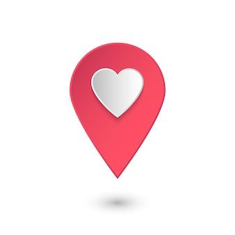 Ícone de localização com coração, ponteiro de vetor 3d rosa com gosto