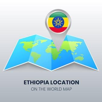 Ícone de localização da etiópia no mapa mundial