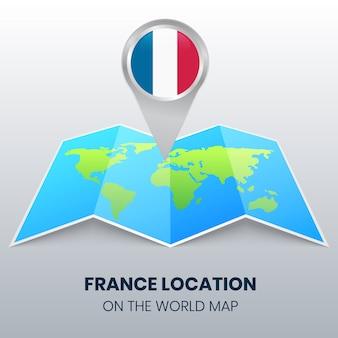 Ícone de localização da frança no mapa do mundo, ícone de alfinete redondo da frança