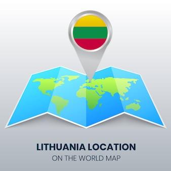 Ícone de localização da lituânia no mapa do mundo, ícone de alfinete redondo da lituânia