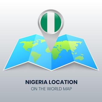 Ícone de localização da nigéria no mapa mundial
