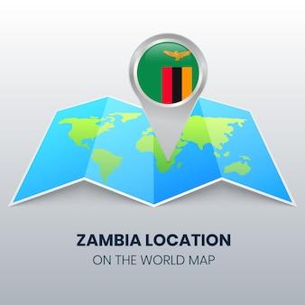 Ícone de localização da zâmbia no mapa mundial