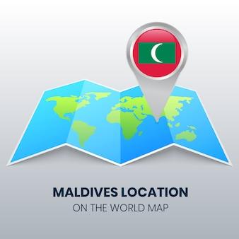 Ícone de localização das maldivas no mapa do mundo, ícone de alfinete redondo das maldivas