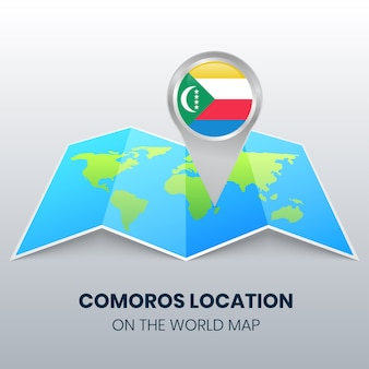 Ícone de localização de comores no mapa mundial