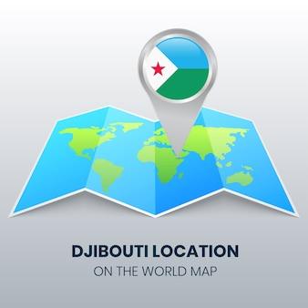 Ícone de localização de djibouti no mapa mundial