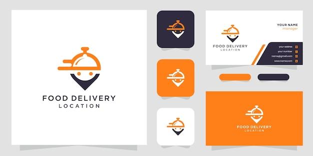Ícone de localização de entrega de comida e inspiração de design de logotipo de cartão.