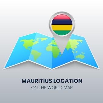 Ícone de localização de maurício no mapa mundial