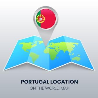 Ícone de localização de portugal no mapa do mundo