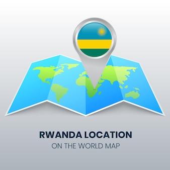 Ícone de localização de ruanda no mapa mundial