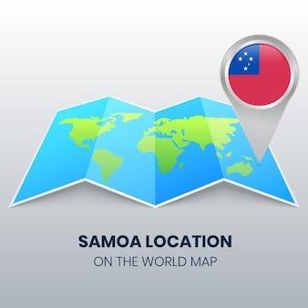 Ícone de localização de samoa no mapa mundial