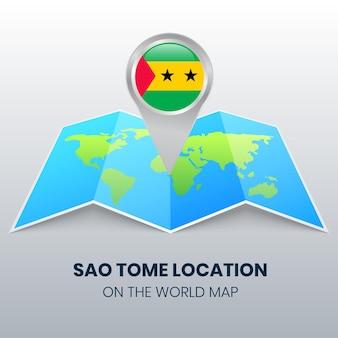 Ícone de localização de são tomé no mapa mundial