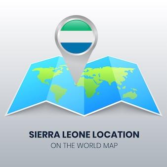 Ícone de localização de serra leoa no mapa mundial