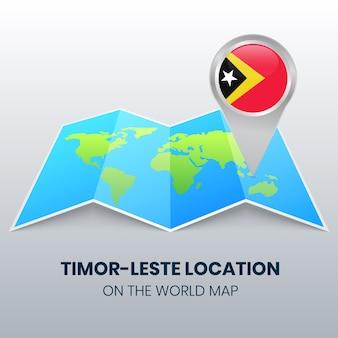 Ícone de localização de timor leste no mapa mundial, ícone de alfinete redondo de timor leste