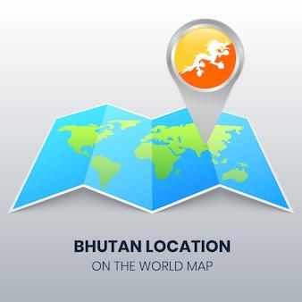 Ícone de localização do butão no mapa mundial
