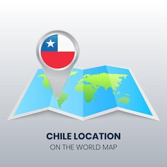 Ícone de localização do chile no mapa do mundo