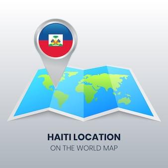 Ícone de localização do haiti no mapa do mundo