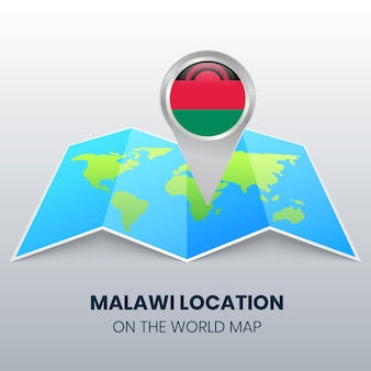 Ícone de localização do malawi no mapa mundial, ícone de alfinete redondo do malawi