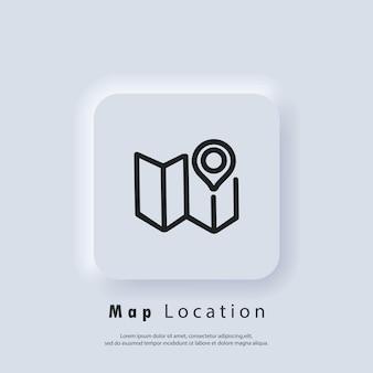 Ícone de localização do mapa. pino do mapa. localização da rota. ícone da cartografia. vetor eps 10. ícone de interface do usuário. botão da web da interface de usuário branco neumorphic ui ux. neumorfismo