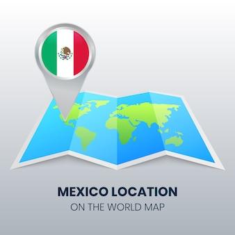 Ícone de localização do méxico no mapa do mundo