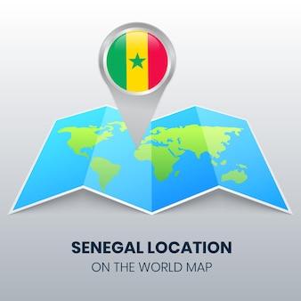 Ícone de localização do senegal no mapa mundial