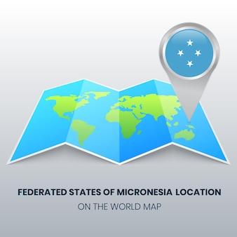 Ícone de localização dos estados federados da micronésia no mapa mundial