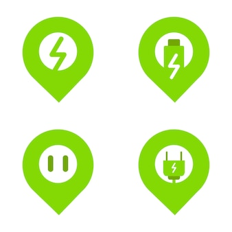 Ícone de localização e eletricidade como conceito de ícone de locação de estação de carregamento de carro elétrico. ícone do vetor