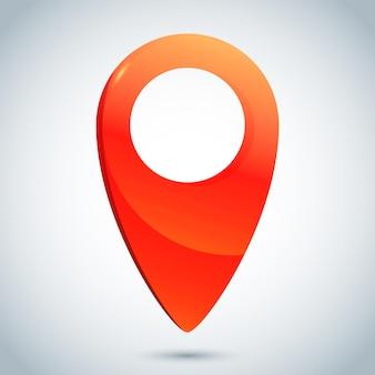 Ícone de localização ilustração vetorial mapa pino símbolo em estilo de vidro realista