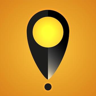 Ícone de localização ilustração vetorial mapa pino símbolo na cor preta com luz realista